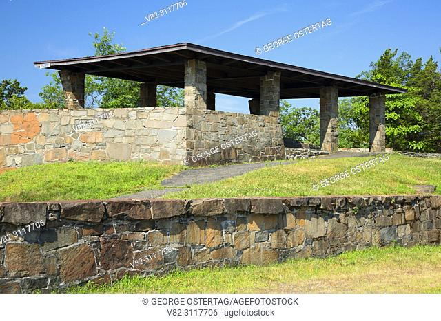 Civilian Conservation Corps (CCC) picnic shelter at Scenic Vista on West Rock Ridge, West Rock Ridge State Park, Connecticut