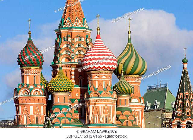 Russia, Moscow Oblast, Moscow. A view of St Basils Cathedral in Red Square in Moscow