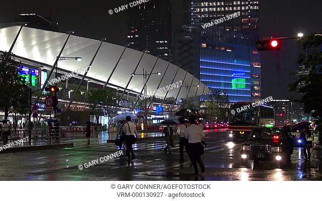 Tokyo Station at night in the rain, Tokyo, Japan