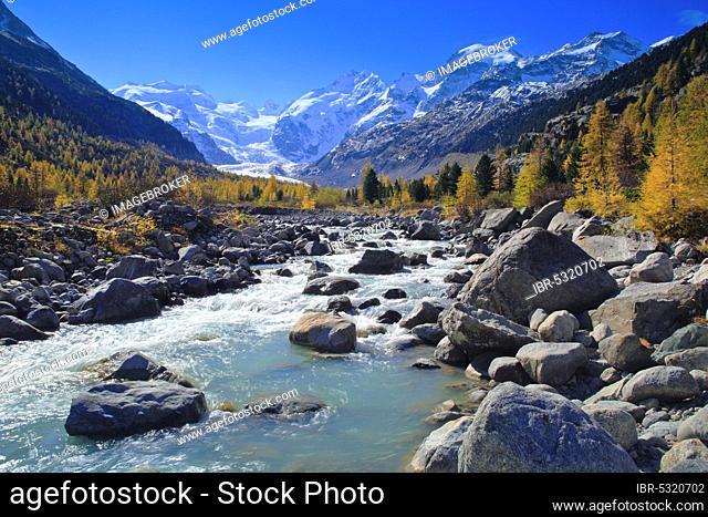 Mountain stream, larch forest, Piz Palü, 3905 m, Piz Bernina, 4049 m, Biancograt, Morteratsch glacier, Upper Engadine, Grisons, Switzerland, Europe