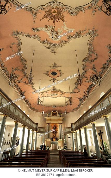 Interior of the Schlosskirche palace church, Bayreuth rococo, 1753-1758, Bayreuth, Bavaria, Germany