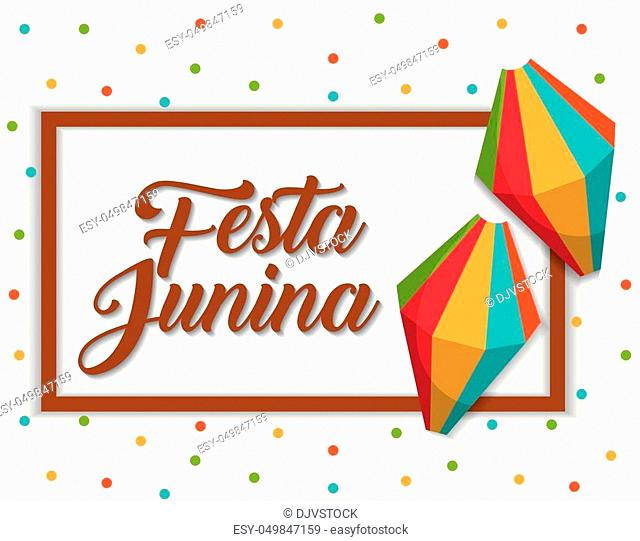 festa junina card with decorative objects over white background. colorful design. vector illustration
