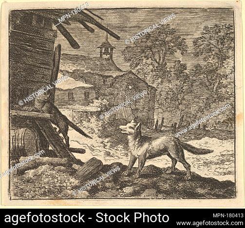The Cat Climbs a Barn from Hendrick van Alcmar's Renard The Fox. Artist: Allart van Everdingen (Dutch, Alkmaar 1621-1675 Amsterdam); Date: 1650-75; Medium:...