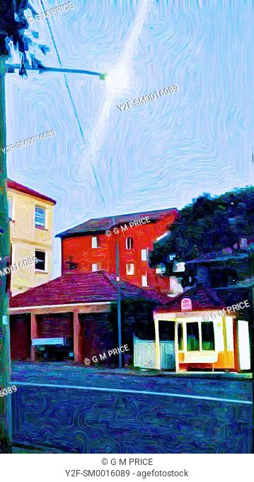 oil paint filter view of residential buildings in Neutral Bay, Sydney