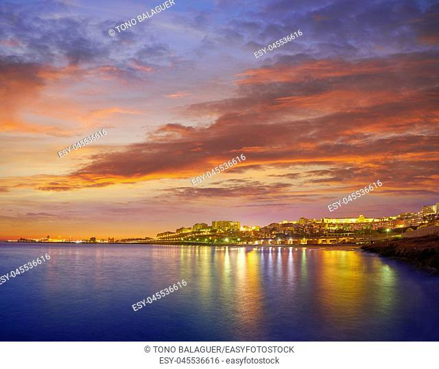 Tarragona port sunset in Mediterranean sea of Catalonia