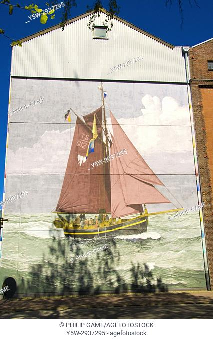 Seafarers' mural at the Baltic Sea port of Heiligenhafen, Holstein, Germany