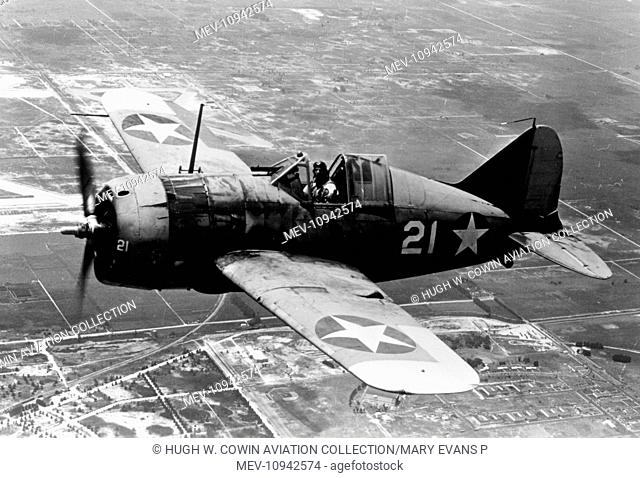 Brewster F2A Buffalo of the US Navy, aloft in Aug 1942 by when the type was relegated to training duties, having proved no match to the Japanese fighters