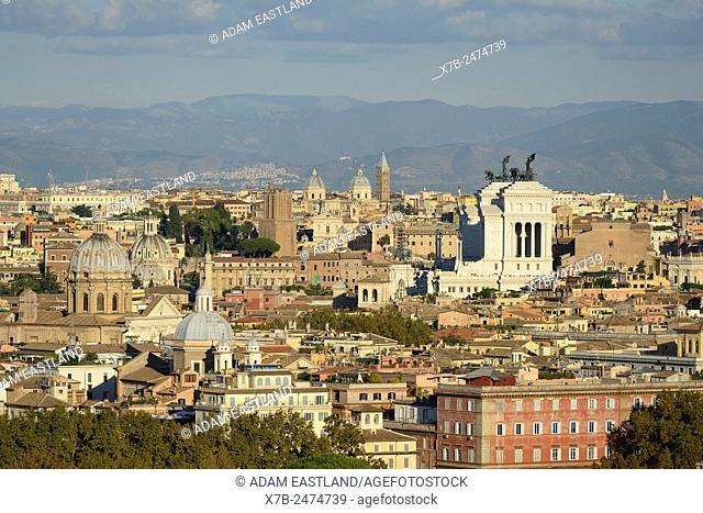 Rome. Italy. View across the city towards Piazza Venezia from Piazza Garibaldi on the Gianicolo hill