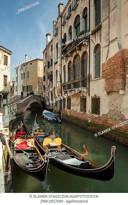Gondolas on a canal in the sestier of Cannareggio, Venice, Italy