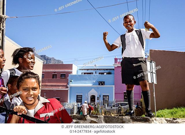 South Africa, African, Cape Town, Bo-Kaap, Schotsche Kloof, Malay Quarter, Muslim, neighborhood, Black, student, girl, boy, school uniform