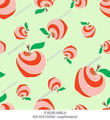 Big and small colored apples on the green background. Pattern