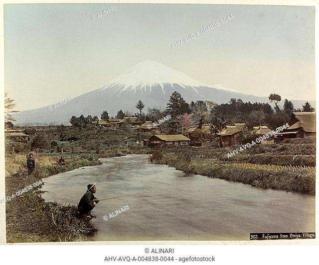 View of Mount Fujiyama from the village Omiya in Japan, shot 1890-1899