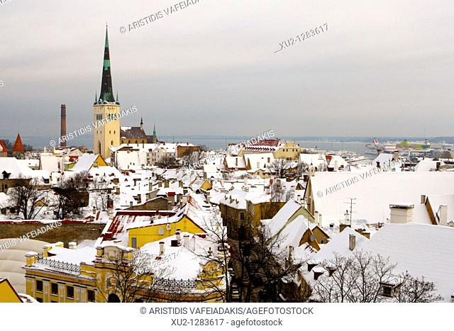 Old town from Toompea with St Olaf's churh  Christmas in Tallin Estonia