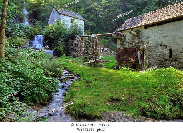 an old water mill in Ticino, Vallemaggia, Switzerland