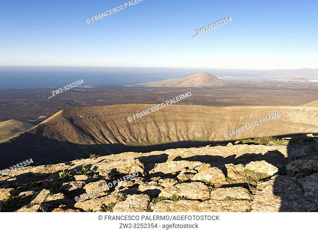 Wonderful aerial views from the white caldera. Timanfaya, Lanzarote. Spain