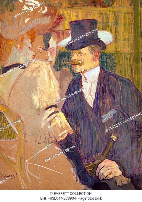 The Englishman at the Moulin Rouge, by Henri de Toulouse-Lautrec, 1892, Post-Impressionist painting. Lautrecs friend, English painter William Tom Warrener