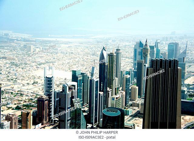 Dubai cityscape, high angle, UAE
