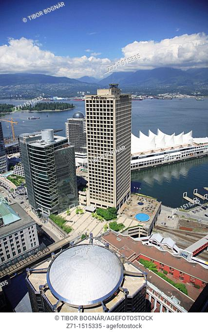 Canada, British Columbia, Vancouver, downtown skyline, aerial view