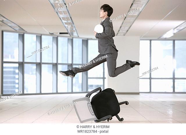 a business man dancing
