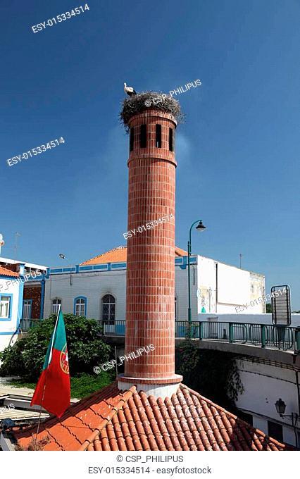 Red brick chimney in Portimao, Algarve Portugal