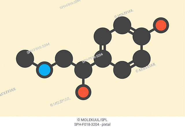 Synephrine herbal stimulant molecule. Present in several Citrus species. Stylized skeletal formula (chemical structure): Atoms are shown as color-coded circles:...