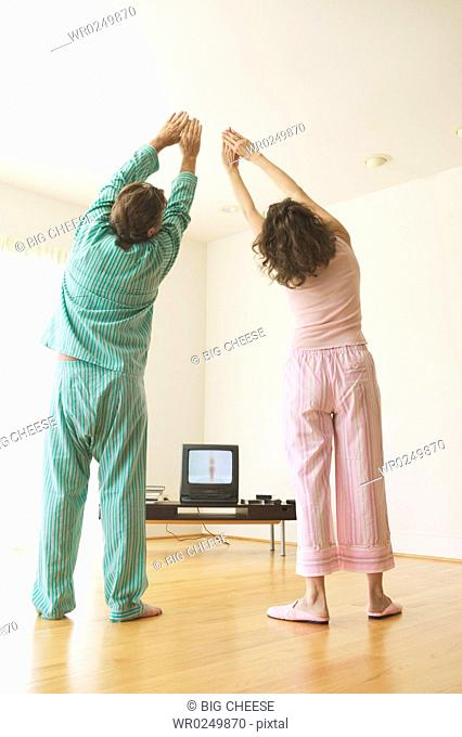 Middle-aged couple exercising to a TV program