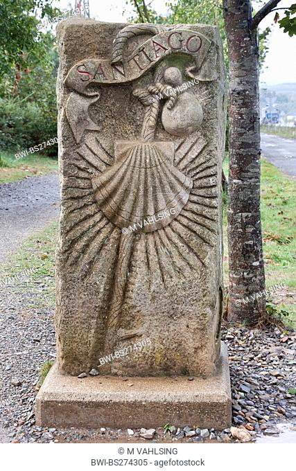 relief at street border of Way of St james between Brea and Lavacolla, Spain, Galicia, A Corua, Weg von Brea nach Lavacolla