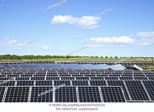 Photovoltaic panels for renewable electric production, Zaragoza province, Aragon, Spain