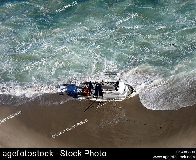 The fishing vessel 'Katie Rae' sits on the beach at Becher's Bay on Santa Rosa Island, as seen by Coast Guard Airstation Los Angeles