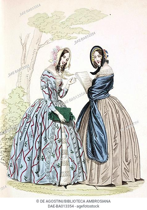 Female sketches in light blue flowery dress and in white dress with blue stole and hat, plate 51 taken from Parisian Fashion
