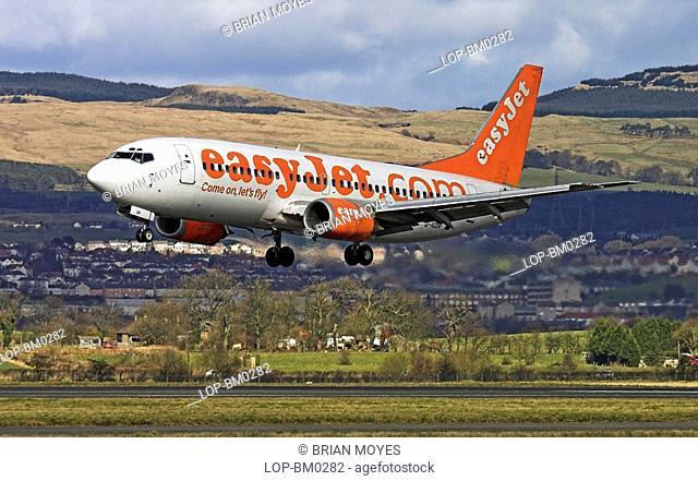 Scotland, Renfrewshire, Glasgow, An Easyjet charter airline landing