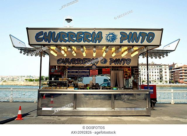 Spain, Basque Country, Small Fast Food Stall; Churreria