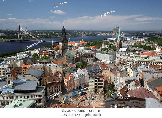 the view over the city of riga in latvia in the baltic region in europe