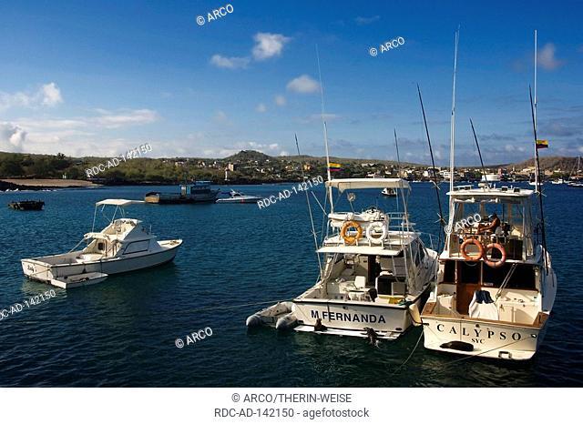 Boats in harbour San Cristobal San Cristobal Island Galapagos Islands Ecuador