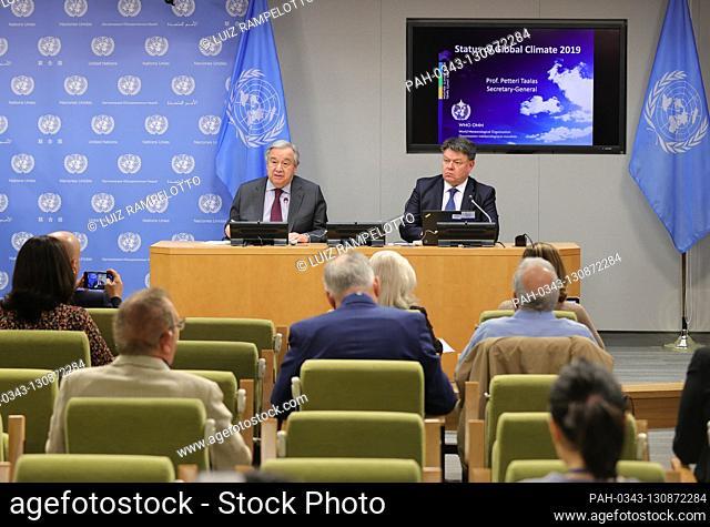 United Nations, New York, USA, March 10, 2020 - Secretary-General Antonio Guterres along with Petteri Taalas (right), Secretary-General of WMO briefs...