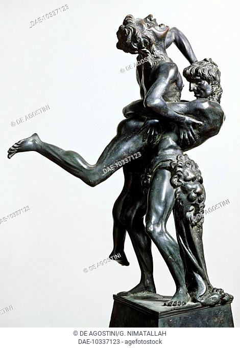 Hercules and Antaeus, ca 1475, by Antonio Pollaiuolo (1431 or 1432-1498), bronze statue, 46 cm. Italy, 15th century.  Florence
