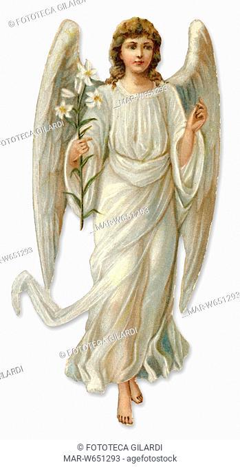 ANGELO figura fustellata con giglio. Nella tradizione cristiana, ogni persona è protetta e accompagnata nella strada verso Dio da un angelo custode