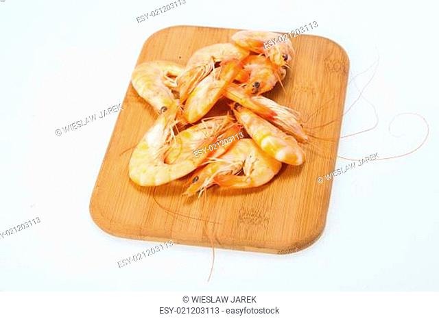 fresh shrimp are isolated on a white background