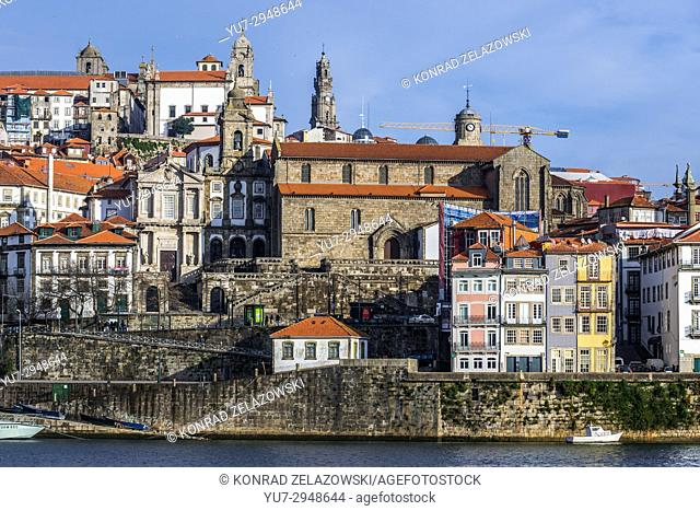 Church of Saint Francis (Igreja de Sao Francisco) in Porto city, Portugal. View from Vila Nova de Gaia city