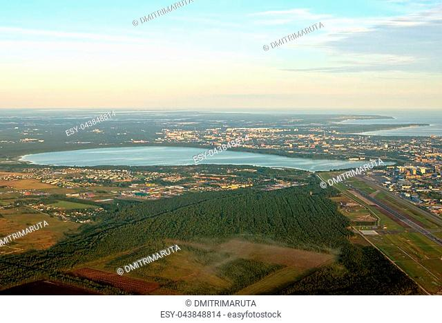 View from the plane to Lake Ülemiste and Tallinn airport