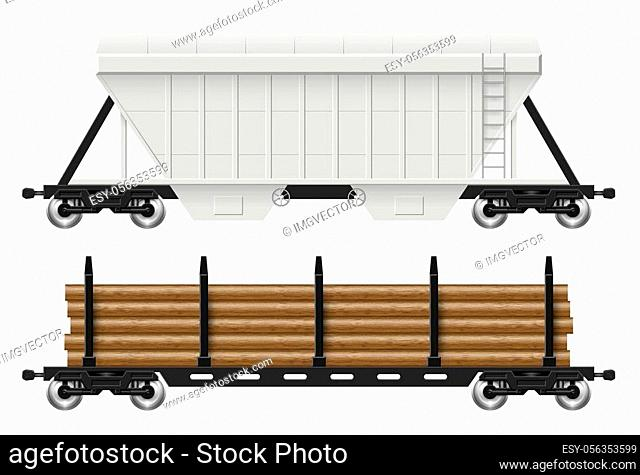 Railroad cars - hopper and log with view from side. Cargo train wagons on white background vector illustration. All elements in the groups on separate layers...
