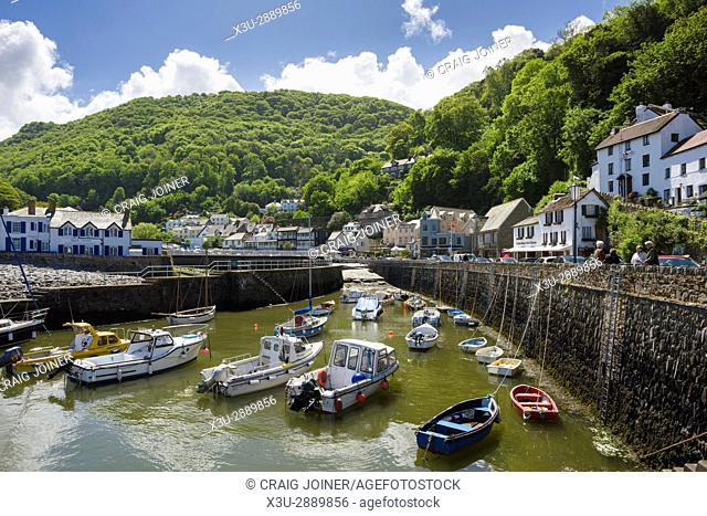 The harbour at Lynmouth on the North Devon coast in Exmoor National park, England