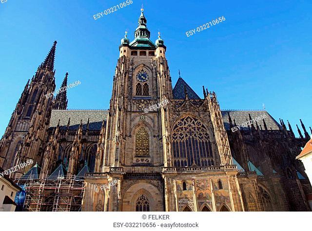 St. Vitus Cathedral in Prague Castle in Prague, Czech Republic. Horizontal image