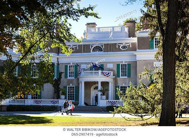 USA, New York, Hudson Valley, Hyde Park, FDR National Historic Site, former home of US President Franklin D, Roosevelt, exterior