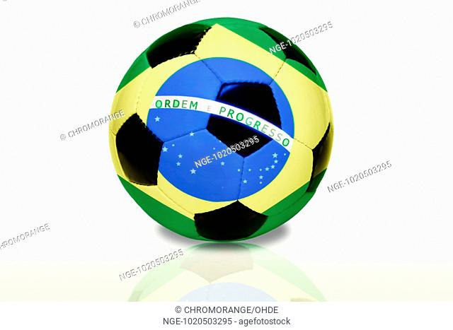 Soccer ball with flag of Brazil