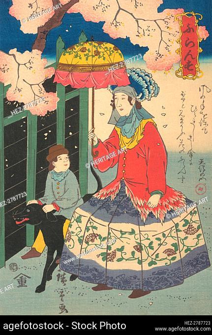 French Woman, Her Child and Pet Dog, 10th month, 1860. Creator: Utagawa Hiroshige II