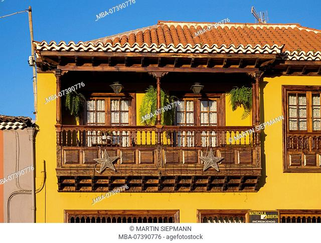 typical house with wooden balcony in old town, La Orotava, Tenerife, Canary Islands, Canary Islands, Spain