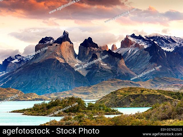 Beautiful mountain landscapes in Torres Del Paine National Park, Chile. World famous hiking region