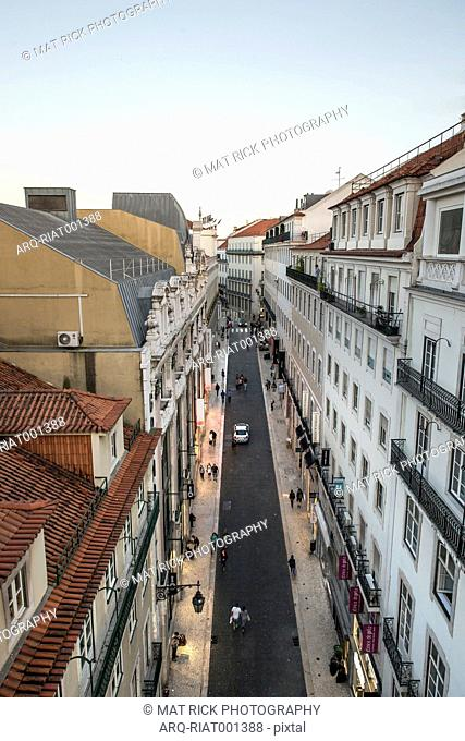 An Aerial View Of The Main Shopping Street In The Chiado Neighborhood Of Lisbon\, Portugal