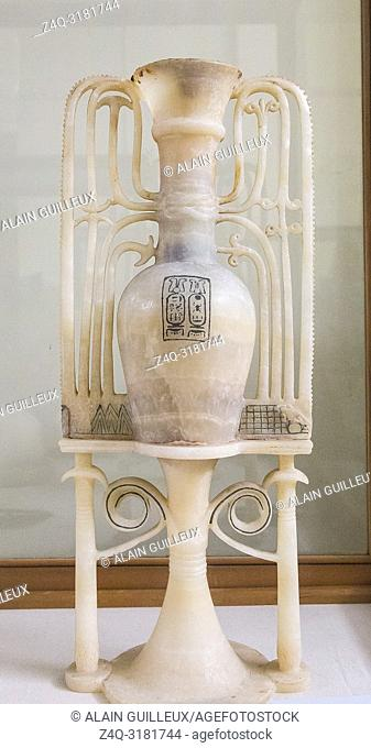 Egypt, Cairo, Egyptian Museum, Tutankhamon alabaster, from his tomb in Luxor : Unguent vase upon ornamental stand. With cartouches of Tutankhamun